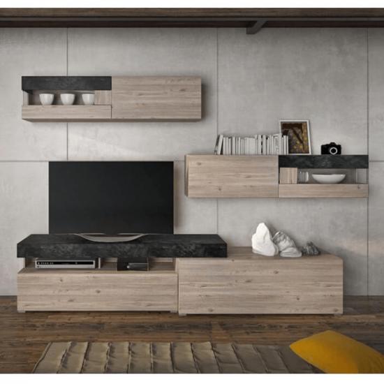 IOVA Nappali szekrénysor, DTD laminált, beton/nelson tölgyfa
